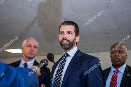 Stock Picture of Donald Trump Jr. (C), son of US President Donald J. Trump, departs following a closed meeting with members of the Senate Intelligence Committee on Capitol Hill in Washington, DC, USA, 12 June 2019. Senate Intelligence Committee Chairman Richard Burr (R-NC) issued a subpoena requesting follow up to previous testimony from Trump Jr.