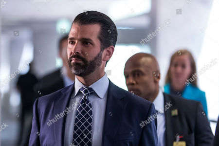 Stock Photo of Donald Trump Jr., son of US President Donald J. Trump, departs following a closed meeting with members of the Senate Intelligence Committee on Capitol Hill in Washington, DC, USA, 12 June 2019. Senate Intelligence Committee Chairman Richard Burr (R-NC) issued a subpoena requesting follow up to previous testimony from Trump Jr.