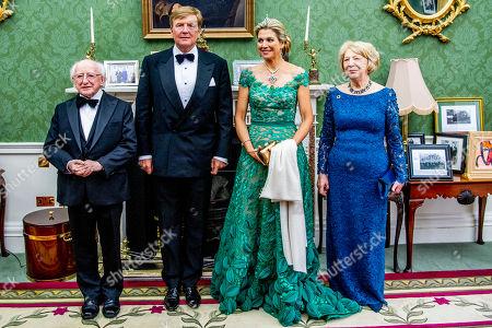 President Michael Higgins, King Willem-Alexander, Queen Maxima and Sabrina Higgins during an official state banquet at the Aras an Uachtarain