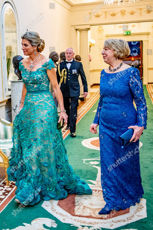 Stock Image of Queen Maxima and Sabrina Higgins during an official state banquet at the Aras an Uachtarain
