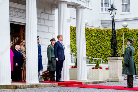 Irish President Michael Higgins and his wife Sabrina Higgins receive King Willem-Alexander and Queen Maxima at at Presidential Palace Aras an Uachtarain, Dublin