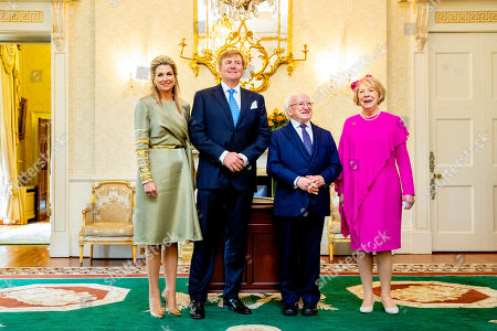 King Willem-Alexander and Queen Maxima of the Netherlands during a meeting with president Michael Higgins and his wife Sabrina Higgins Coyne at the Presidential Palace Aras an Uachtarain, Dublin