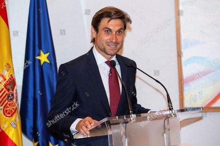 Former Spanish tennis player David Ferrer delivers a speech after receiving the Royal Order of Sports Merit at the Spanish Ministry of Culture and Sports headquarters in Madrid, Spain, 12 June 2019.