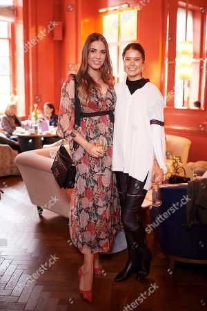 Amber Le Bon and Sarah Ann Macklin attend the Matthew Williamson afternoon tea at The Coral Room to launch the collection with Newby Teas of London