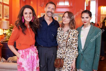 Rosanna Falconer, Patrick Grant, Kelly Eastwood and Doina Ciobanu attends the Matthew Williamson afternoon tea at The Coral Room to launch the collection with Newby Teas of London