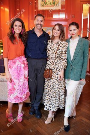 Rosanna Falconer, Patrick Grant, Kelly Eastwood and Doina Ciobanu attend the Matthew Williamson afternoon tea at The Coral Room to launch the collection with Newby Teas of London