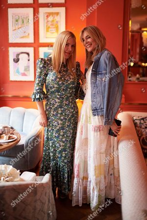 Fiona Leahy and Kim Hersov attend the Matthew Williamson afternoon tea at The Coral Room to launch the collection with Newby Teas of London