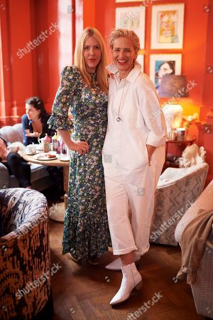 Fiona Leahy and Deborah Brett attend the Matthew Williamson afternoon tea at The Coral Room to launch the collection with Newby Teas of London
