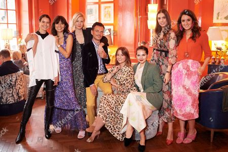 Sarah Ann Macklin, Jasmine Hemsley, Savannah Miller, Matthew Williamson, Kelly Eastwood, Doina Ciobanu, Amber Le Bon and Rosanna Falconer attend the Matthew Williamson afternoon tea at The Coral Room to launch the collection with Newby Teas of London