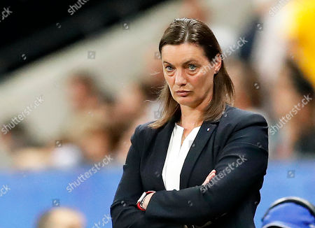 France's head coach Corinne Diacre reacts during the FIFA Women's World Cup 2019 group A soccer match between France and Norway in Nice, France, 12 June 2019.