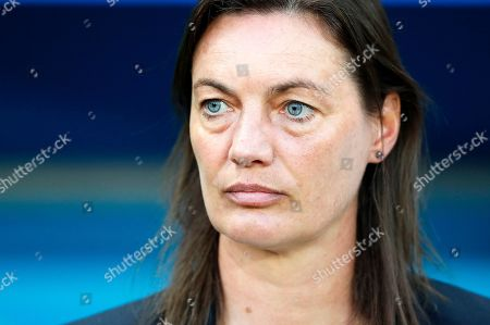 France's head coach Corinne Diacre during the FIFA Women's World Cup 2019 group A soccer match between France and Norway in Nice, France, 12 June 2019.