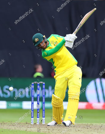 TAUNTON, ENGLAND. 12 JUNE Nathan Coulter-Nile of Australia hits the ball and is caught out by wicketkeeper Sarfraz Ahmed of Pakistan (Not Pictured) during the Australia v Pakistan, ICC Cricket World Cup match. at the County Ground, Taunton
