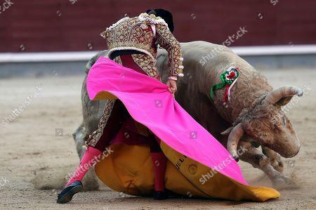 Spanish bullfighter Julian Lopez 'El Juli' fights a bull during the traditional Charity Bullfight held at the Las Ventas Bullring in Madrid, Spain, 12 June 2019.