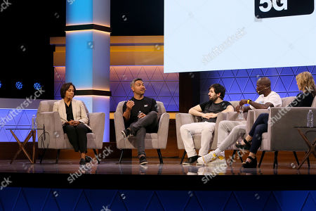 (L-R) Rachel Hoagland, Christian Guirmalda, Voyboy, Chad 'Ochocinco' Johnson, and Liz Loza talk during 'Building the Future of Sports and Mobile Games' Showcase panel during Electronic Entertainment Expo (E3) 2019 at the Novo Theatre in Los Angeles, California, USA, 12 June 2019. The E3 expo introduces new games and gaming devices and is an anticipated annual event among gaming enthusiasts and marketers. The event runs from 11 to 13 June.