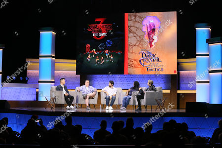 Stock Picture of (L-R) Chris Lee, Dave Pottinger, Paul Dichter, Stephanie Wise, Max Mills, and Lucy O'Brien talk during the 'Bringing Your Favorite Shows to Life: Developing Netflix Originals into Video Games' Showcase panel during Electronic Entertainment Expo (E3) 2019 at the Novo Theatre in Los Angeles, California, USA, 12 June 2019. The E3 expo introduces new games and gaming devices and is an anticipated annual event among gaming enthusiasts and marketers. The event runs from 11 to 13 June.