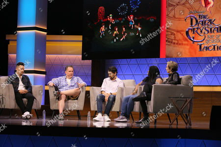 Stock Image of (L-R) Chris Lee, Dave Pottinger, Paul Dichter, Stephanie Wise, Max Mills, and Lucy O'Brien talk during the 'Bringing Your Favorite Shows to Life: Developing Netflix Originals into Video Games' Showcase panel during Electronic Entertainment Expo (E3) 2019 at the Novo Theatre in Los Angeles, California, USA, 12 June 2019. The E3 expo introduces new games and gaming devices and is an anticipated annual event among gaming enthusiasts and marketers. The event runs from 11 to 13 June.