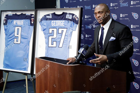 Former Tennessee Titans running back Eddie George speaks during an announcement at the Titans' NFL football training facility, in Nashville, Tenn., that his number will be retired. The team will retire George's No. 27 and former quarterback Steve McNair's No. 9 on Sept. 15 at their home opener against the Indianapolis Colts