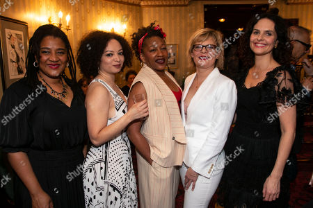 Stock Photo of Lynn Nottage (Author), Lynette Linton (Director), Clare Perkins (Cynthia), Martha Plimpton (Tracey) and Leanne Best (Jessie)