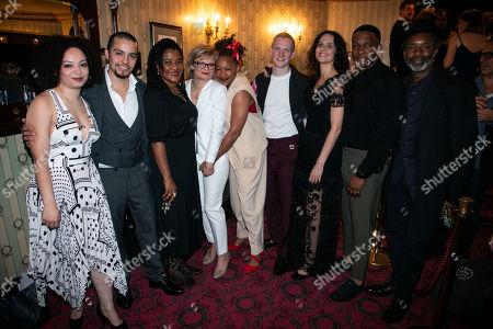 Lynette Linton (Director), Sebastian Viveros (Oscar), Lynn Nottage (Author), Martha Plimpton (Tracey), Clare Perkins (Cynthia), Patrick Gibson (Jason), Leanne Best (Jessie), Osy Ikhile (Chris) and Wil Johnson (Brucie)