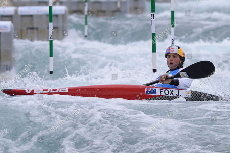 Jessica Fox of Australia in action during the WC1 Women's Canoe Heats 1st Run at the ICF Canoe Slalom World Cup Day 1 at the Valley White Water Centre in Waltham Cross, UK - 14th June 2019