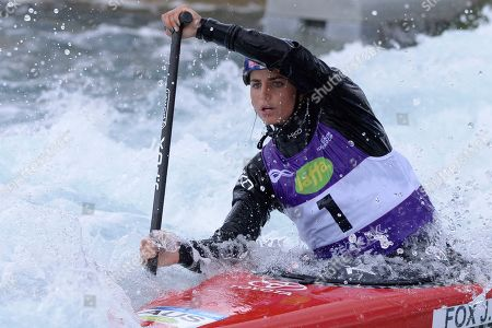 Jessica Fox in action during WC1 WomenÕs Canoe Heat 1 during the ICF Canoe Slalom World Cup Day 1 at the Valley White Water Centre in Waltham Cross, UK - 14th June 2019