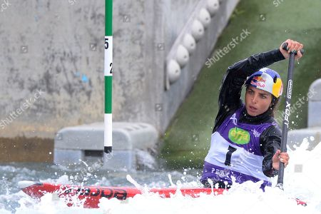 Jessica Fox in action during the Womens WC1 Canoe Semi final at the ICF Canoe Slalom World Cup Day 3 at the Valley White Water Centre in Waltham Cross, UK - 16th June 2019