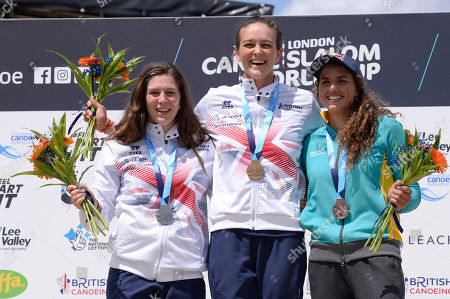 Kimberly Woods (L), Mallory Franklin (C) and Jessica Fox (L) show of their medals at the ICF Canoe Slalom World Cup Day 3 at the Valley White Water Centre in Waltham Cross, UK - 16th June 2019