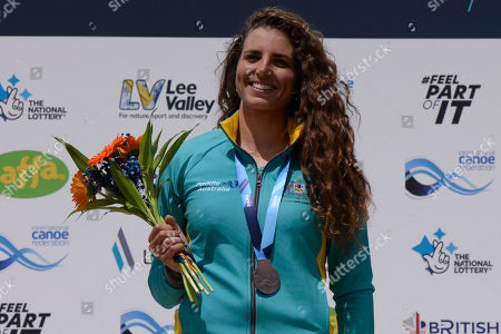 Jessica Fox celebrates winning bronze at the ICF Canoe Slalom World Cup Day 3 at the Valley White Water Centre in Waltham Cross, UK - 16th June 2019