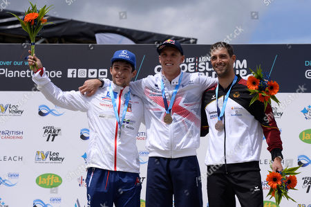 Prskavec Jiri (L), Joseph Clarke (C), Hannes Aigner (R) celebrates after at the ICF Canoe Slalom World Cup Day 3 at the Valley White Water Centre in Waltham Cross, UK - 16th June 2019