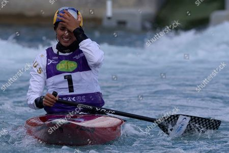 Jessica Fox in action during the WomenÕs WC1 Canoe final at the ICF Canoe Slalom World Cup Day 3 at the Valley White Water Centre in Waltham Cross, UK - 16th June 2019