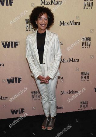 Stephanie Allain arrives at the Women in Film Annual Gala, at the Beverly Hilton Hotel in Beverly Hills, Calif