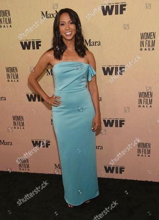 Stock Image of Elizabeth Frances arrives at the Women in Film Annual Gala, at the Beverly Hilton Hotel in Beverly Hills, Calif