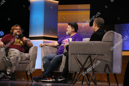 Jack Black, Tim Schafer, and Geoff Keighley talk during the 'Psychonauts 2' panel during the Electronic Entertrainment Expo (E3) 2019 at the Novo Theatre in Los Angeles, California, USA, 12 June 2019. The E3 expo introduces new games and gaming devices and is an anticipated annual event among gaming enthusiasts and marketers. The event runs from 11 to 13 June.