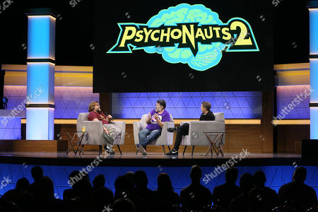 Jack Black, Tim Schafer, and Geoff Keighley participate in the 'Psychonauts 2' panel during the Electronic Entertrainment Expo (E3) 2019 at the Novo Theatre in Los Angeles, California, USA, 12 June 2019. The E3 expo introduces new games and gaming devices and is an anticipated annual event among gaming enthusiasts and marketers. The event runs from 11 to 13 June.