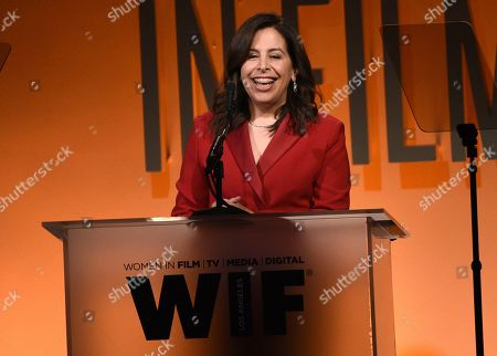 Amy Baer speaks at the Women in Film Annual Gala, at the Beverly Hilton Hotel in Beverly Hills, Calif