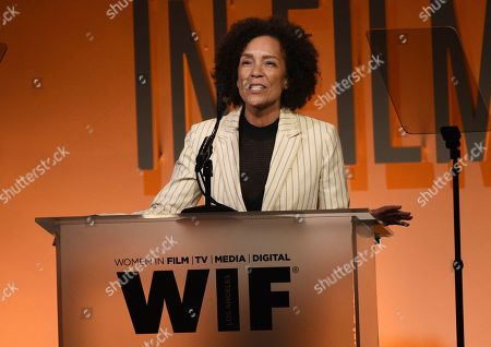 Stephanie Allain speaks at the Women in Film Annual Gala, at the Beverly Hilton Hotel in Beverly Hills, Calif