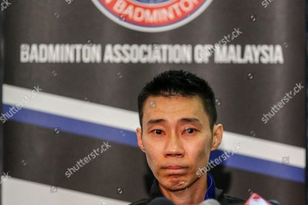 Malaysian badminton player Lee Chong Wei looks on during a press conference in Putrajaya, Malaysia, 13 June 2019. Former world number one player Lee Chong Wei, 36, announced his retirement from the game due to being diagnosed with cancer.