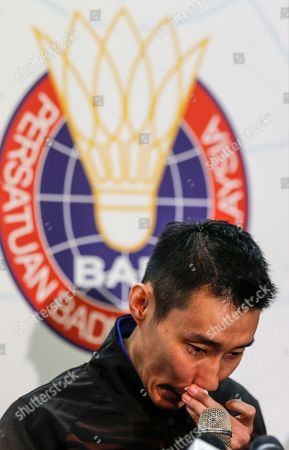 Malaysian badminton player Lee Chong Wei reacts during a press conference in Putrajaya, Malaysia, 13 June 2019. Former world number one player Lee Chong Wei, 36, announced his retirement from the game due to being diagnosed with cancer.