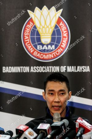 Malaysian badminton player Lee Chong Wei speaks during a press conference in Putrajaya, Malaysia, 13 June 2019. Former world number one player Lee Chong Wei, 36, announced his retirement from the game due to being diagnosed with cancer.