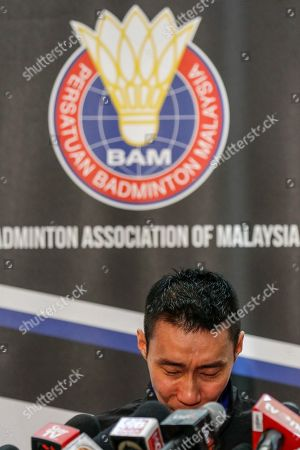 Malaysian badminton player Lee Chong Wei weaps during a press conference in Putrajaya, Malaysia, 13 June 2019. Former world number one player Lee Chong Wei, 36, announced his retirement from the game due to being diagnosed with cancer.