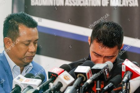Malaysian badminton player Lee Chong Wei (R) is comforted by Badminton Association of Malaysia president, Norza Zakaria during a press conference in Putrajaya, Malaysia, 13 June 2019. Former world number one player Lee Chong Wei, 36, announced his retirement from the game due to being diagnosed with cancer.