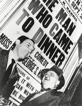 Moss Hart and Alexander Walcott at the Boston tryout of, THE MAN WHO CAME TO DINNER. George Kaufman and Hart wrote the comic play which used their friend Alexander Woollcott, as the model for the lead character, Sheridan Whiteside. Boston, Sept. 1939. Alexander Woollcott was a critic and commentator for The New Yorker magazine, and a member of the Algonquin Round Table.