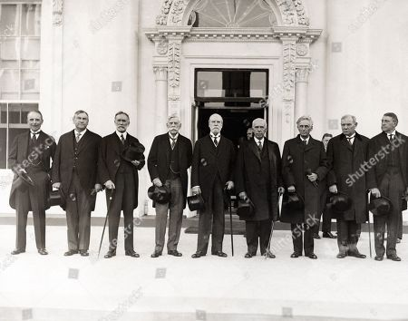 Chief Justice Charles Evans Hughes with Supreme Court Justices at the White House, Oct. 13, 1930. They notified President Herbert Hoover that the Court was in session. L-R: William Mitchell, Atty. Gen.; Harlan Fiske Stone; George Sutherland; Oliver Wendell Holmes; Charles Evans Hughes; Willis Van Devanter; Louis D Brandeis; Pierce Butler; and Owen J. Roberts. Hughes was portrayed by Louis Calhern in the 1946 stage play, and 1950 film, THE MAGNIFICENT YANKEE.