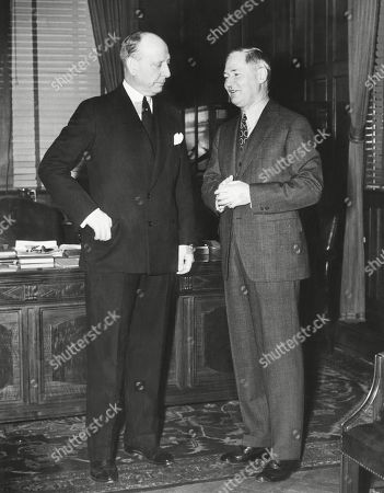 Stock Photo of Jersey City Mayor Frank Hague (left), with Gov. Elect Harry Moore of New Jersey, Jan. 7, 1938. Gov. Moore offered his unexpired seat in the United States Senate to Mayor Hague. Hague declined.