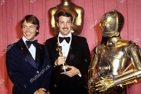 Mark Hamill, Ben Burtt and C3PO robot