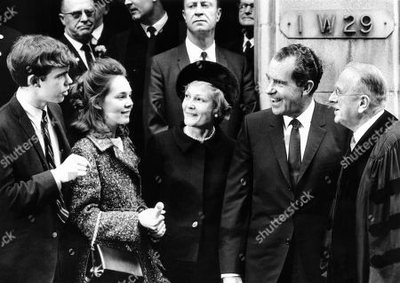 President-elect Richard Nixon and his family with Dr. Norman Vincent Peale. L-R: David Eisenhower, Julie Nixon, Pat Nixon, Richard Nixon, and Dr. Peale. The next month, David and Julie married at the Marble Collegiate Church by Peale. Nov. 24, 1968.