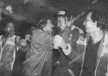 James Hunt after winning the 1976 world motor racing championship in Japan. He finished 3rd in the race. He is pictured with his brother Peter Hunt.