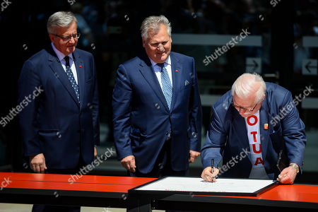 Stock Image of Former Presidents of Poland Bronislaw Komorowski (L), Aleksander Kwasniewski (C) and Lech Walesa (R) are seen during Freedom and Solidarity Days in Gdansk.