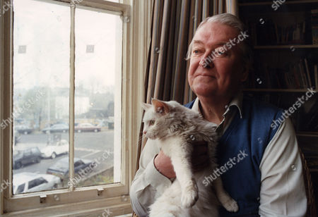 Kingsley Amis Author At Home With Cat . Rexmailpix.