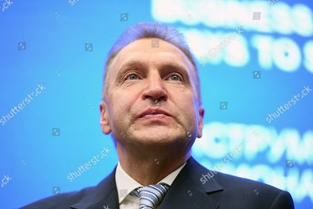 """Igor Shuvalov, Chairman of the VEB.RF State Development Corporation at a plenary session """"Business in National Development Projects: Ways to Succeed""""."""
